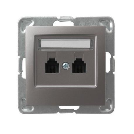 IMPRESJA Gniazdo telefoniczne, podwójne, równoległe, bez ramki, kolor tytan GPT-2YR/m/23