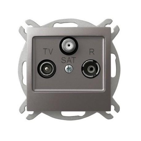 IMPRESJA Gniazdo RTV-SAT, przelotowe, bez ramki, kolor tytan GPA-YSP/m/23