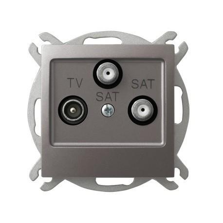 IMPRESJA Gniazdo RTV-SAT, z dwoma wyjściami SAT, bez ramki, kolor tytan GPA-Y2S/m/23