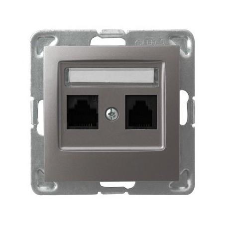 IMPRESJA Gniazdo komputerowe, podwójne, kat. 5e, MMC, bez ramki, kolor tytan GPK-2Y/K/m/23