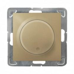 IMPRESJA Ściemniacz przyciskowo-obrotowy, do obciążenia żarowego i halogenowego, bez ramki, kolor złoty metalik ŁP-8Y/m/28