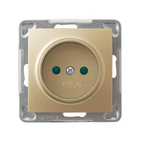IMPRESJA Gniazdo pojedyncze, z przesłonami torów prądowych, bez ramki, kolor złoty metalik GP-1YP/m/28