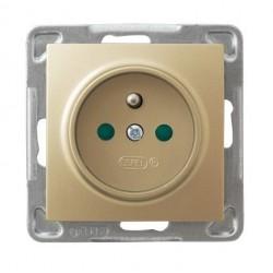 IMPRESJA Gniazdo pojedyncze z uziemieniem, z przesłonami torów prądowych, bez ramki, kolor złoty metalik GP-1YZP/m/28