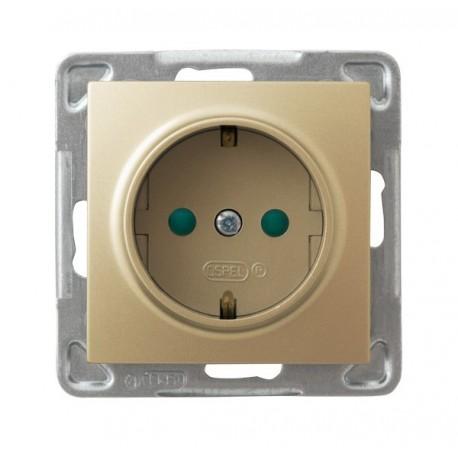 IMPRESJA Gniazdo pojedyncze z uziemieniem schuko, z przesłonami torów prądowych, bez ramki, kolor złoty metalik GP-1YSP/m/28
