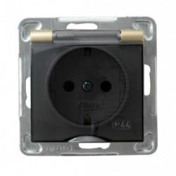 IMPRESJA Gniazdo pojedyncze z uziemieniem schuko, IP-44, wieczko przezroczyste, bez ramki, kolor złoty metalik GPH-1YS/m/28/d