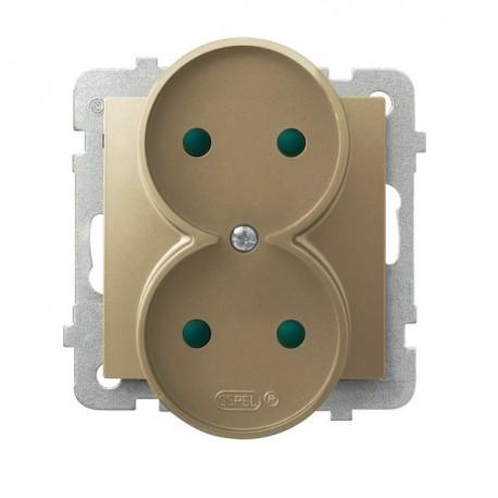 IMPRESJA Gniazdo podwójne, do montażu w ramki, z przesłonami torów prądowych, bez ramki, kolor złoty metalik GP-2YRP/m/28