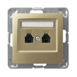IMPRESJA Gniazdo telefoniczne, podwójne, niezależne, bez ramki, kolor złoty metalik GPT-2YN/m/28