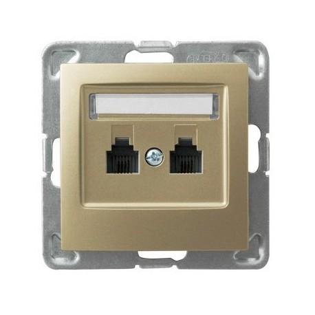 IMPRESJA Gniazdo telefoniczne, podwójne, równoległe, bez ramki, kolor złoty metalik GPT-2YR/m/28