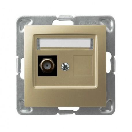 IMPRESJA Gniazdo antenowe, pojedyncze, typu F, bez ramki, kolor złoty metalik GPA-1YF/m/28