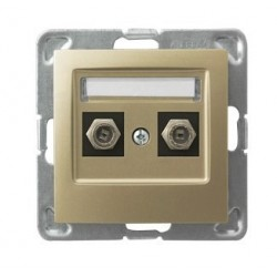 IMPRESJA Gniazdo antenowe, podwójne, typu F, bez ramki, kolor złoty metalik GPA-2YF/m/28