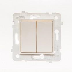 ROSA Przycisk podwójny bez ramki, kolor ecru ŁP-17Q/M.EC