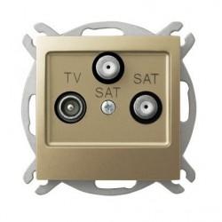IMPRESJA Gniazdo RTV-SAT, z dwoma wyjściami SAT, bez ramki, kolor złoty metalik GPA-Y2S/m/28