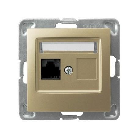 IMPRESJA Gniazdo komputerowe, pojedyncze, kat. 5e, MMC, bez ramki, kolor złoty metalik GPK-1Y/K/m/28
