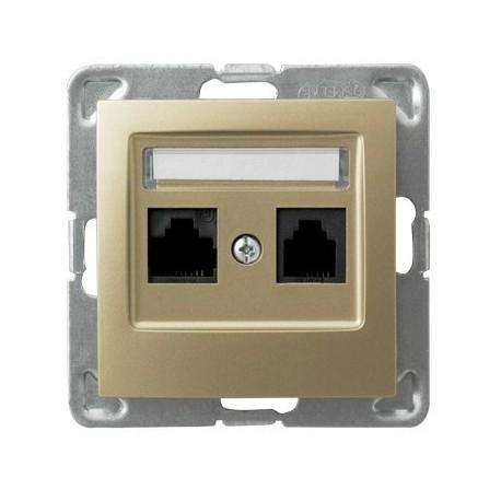 IMPRESJA Gniazdo komputerowe, podwójne, kat. 5e, MMC, bez ramki, kolor złoty metalik GPK-2Y/K/m/28