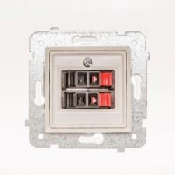 ROSA Gniazdo głośnikowe podwójne bez ramki, kolor ecru GG-2Q/M.EC