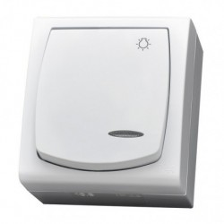 MADERA Łącznik zwierny -światło-, z podświetleniem, IP-44, kolor biały ŁNH-5NS/00