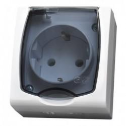 MADERA Gniazdo pojedyncze z uziemieniem schuko, IP-44, wieczko przezroczyste, kolor biały GNH-1NS/00/d
