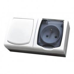 MADERA Zestaw IP-44 Łącznik jednobiegunowy + Gniazdo pojedyncze z uziemieniem, wieczko przezroczyste, kolor biały ZH-NŁ1G/00/d