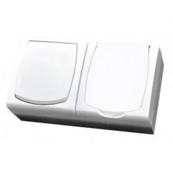 MADERA Zestaw IP-44 Łącznik jednobiegunowy + Gniazdo pojedyncze z uziemieniem, wieko w kolorze wyrobu, kolor biały ZH-NŁ1G/00/w