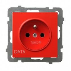 AS Gniazdo pojedyncze z uziemieniem DATA, bez ramki, czerwony GP-1GZD/m/00