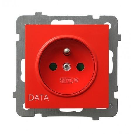 AS Gniazdo pojedyncze z uziemieniem DATA, z przesłonami torów prądowych, bez ramki, czerwony GP-1GZDP/m/00
