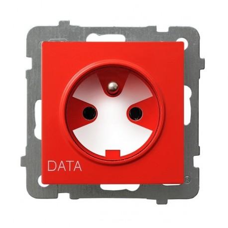 AS Gniazdo pojedyncze z uziemieniem DATA, z kluczem uprawniającym, bez ramki, czerwony GP-1GZK/m/00