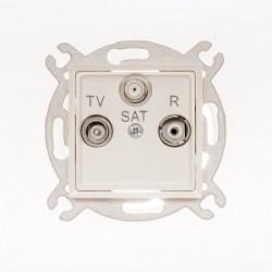 ROSA Gniazdo antenowe R-TV-SAT przelotowe bez ramki, kolor ecru GPA-QSP/M.EC
