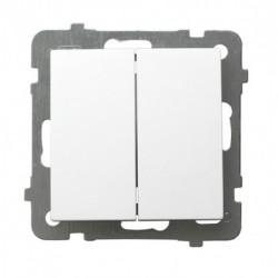 AS Łącznik schodowy + jednobiegunowy, bez ramki, kolor biały ŁP-9G/m/00