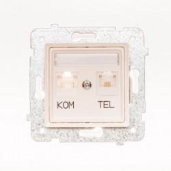 ROSA Gniazdo komputerowo RJ45 - telefoniczne RJ11 bez ramki, kolor ecru GPKT-1Q/F/M.EC