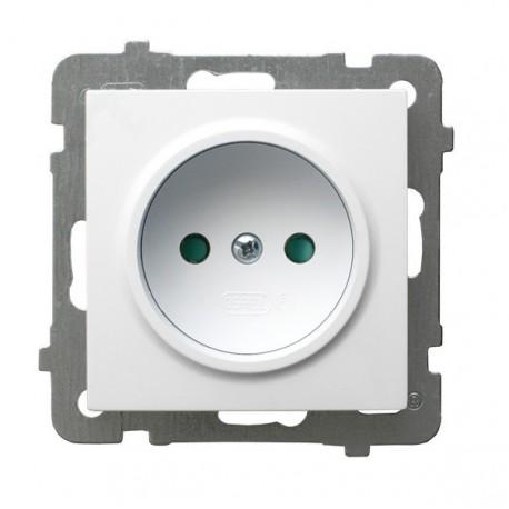 AS Gniazdo pojedyncze, z przesłonami torów prądowych, bez ramki, kolor biały GP-1GP/m/00