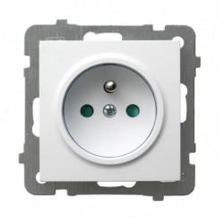 AS Gniazdo pojedyncze z uziemieniem, z przesłonami torów prądowych, bez ramki, kolor biały GP-1GZP/m/00