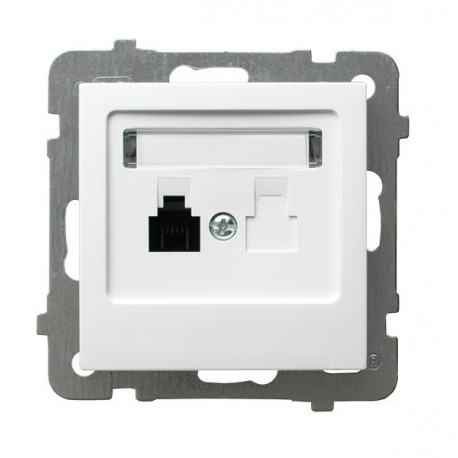 AS Gniazdo telefoniczne, pojedyncze, bez ramki, kolor biały GPT-1G/m/00