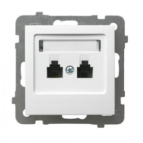 AS Gniazdo telefoniczne, podwójne, równoległe, bez ramki, kolor biały GPT-2GR/m/00