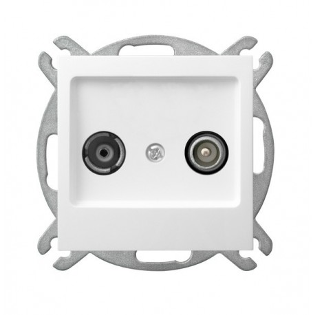 AS Gniazdo RTV, przelotowe, bez ramki, kolor biały GPA-10GP/m/00