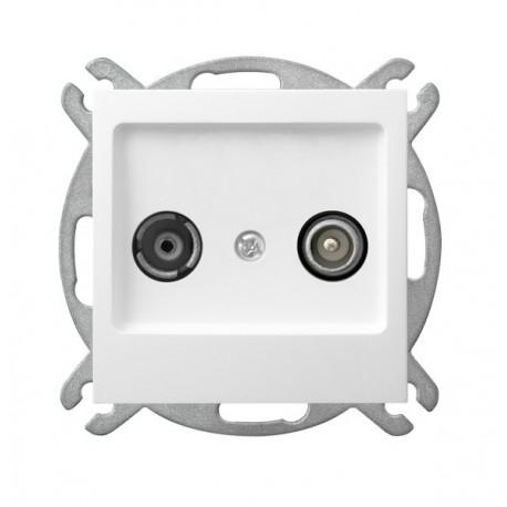 AS Gniazdo RTV, przelotowe, bez ramki, kolor biały GPA-16GP/m/00