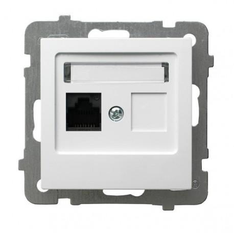 AS Gniazdo komputerowe, pojedyncze, kat. 5e, MMC, bez ramki, kolor biały GPK-1G/K/m/00