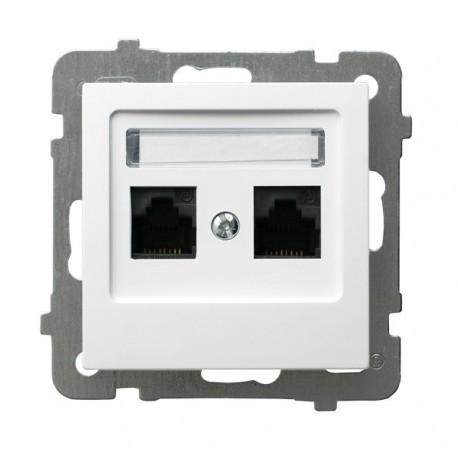 AS Gniazdo komputerowe, podwójne, kat. 5e, MMC, bez ramki, kolor biały GPK-2G/K/m/00