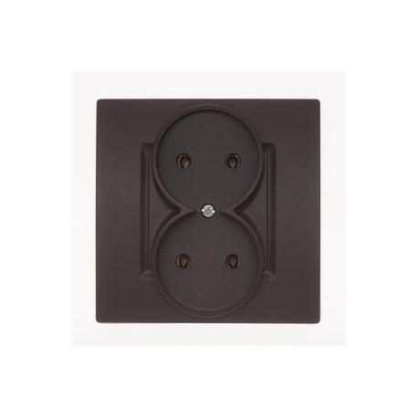 ROSA Gniazdo podwójne bez uziemienia kolor czekoladowy mat GP-2Q.CK