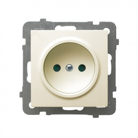 AS Gniazdo pojedyncze, z przesłonami torów prądowych, bez ramki, kolor ecru GP-1GP/m/27