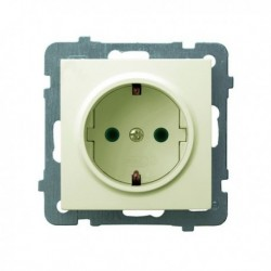 AS Gniazdo pojedyncze z uziemieniem schuko, z przesłonami torów prądowych, bez ramki, kolor ecru GP-1GSP/m/27