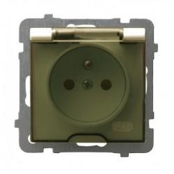 AS Gniazdo pojedyncze z uziemieniem, IP-44, wieczko przezroczyste, bez ramki, kolor ecru GPH-1GZ/m/27/d