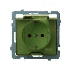 AS Gniazdo pojedyncze z uziemieniem schuko, IP-44, wieczko przezroczyste, bez ramki, kolor ecru GPH-1GS/m/27/d