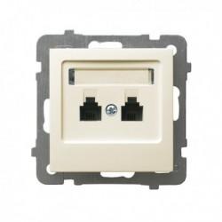 AS Gniazdo telefoniczne, podwójne, niezależne, bez ramki, kolor ecru GPT-2GN/m/27