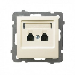 AS Gniazdo telefoniczne, podwójne, równoległe, bez ramki, kolor ecru GPT-2GR/m/27