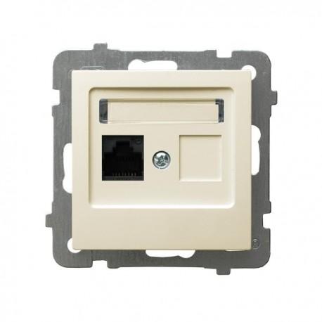 AS Gniazdo komputerowe, pojedyncze, kat. 5e, MMC, bez ramki, kolor ecru GPK-1G/K/m/27