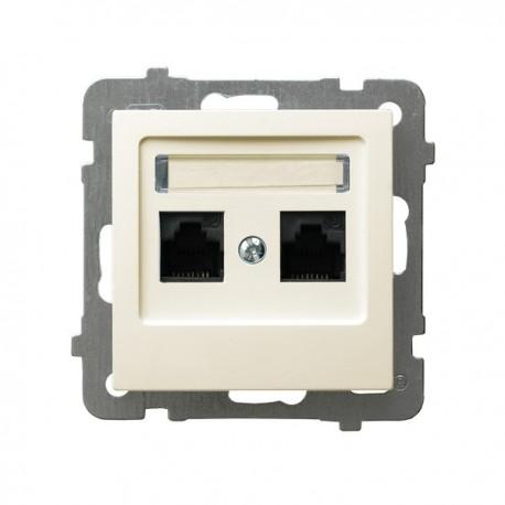 AS Gniazdo komputerowe, podwójne, kat. 5e, MMC, bez ramki, kolor ecru GPK-2G/K/m/27